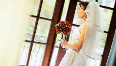 Caucasian Bride White Dress and Veil  Stock Footage
