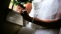 Close Up Beautiful Bride White Dress and Veil  Stock Footage