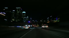 Driving Timelapse Night 58 Freeway LA Downtown Stock Footage