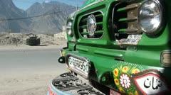 Closeup of a Pakistani truck - stock footage