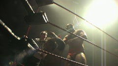 Pro Wrestling Move - Clothesline and Pin HD Stock Footage