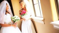 Multi Ethnic Brides Double Wedding  Stock Footage