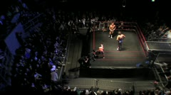 Aerial Pro Wrestling Match Shot HD Stock Footage