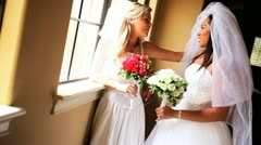Laughing Caucasian African American Brides  Stock Footage