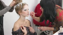 Young Woman Applying Makeup - stock footage