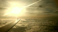 Flight In the Evening With Sunset over clouds - stock footage