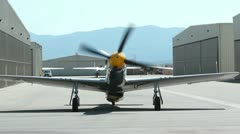 P-51 Mustang Start and Taxi Stock Footage