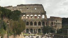 City view of Rome, Italy with old buildings, monuments and art Stock Footage