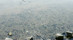 Clear & transparent Repulse Bay ripple,Sparkling lake,gravel. Stock Footage