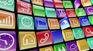 Stock Video Footage of mobile apps icon background