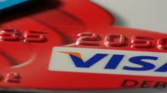 Visa credit cards debit cards Stock Footage