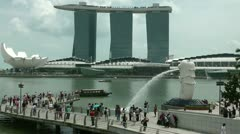 The Merlion fountain and Sky Park Stock Footage
