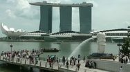 Stock Video Footage of The Merlion fountain and Sky Park