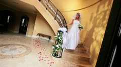 Blonde Bride Wedding Dress Descending Staircase  Stock Footage