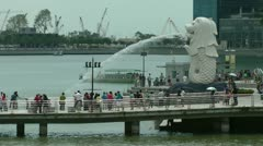 The Merlion fountain Singapore - stock footage
