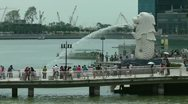 Stock Video Footage of The Merlion fountain Singapore