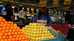 Arranging the fruit - stock footage