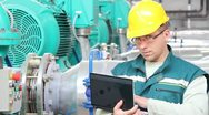 Stock Video Footage of Industrial worker with notebook
