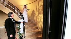 Groom Watching Beautiful Bride on Marble Staircase  Stock Footage