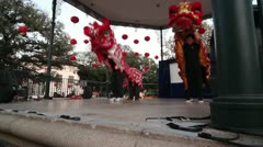 Chinese Lion Dance on Stage Stock Footage