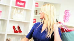 Blonde Girl Shopping Trip Bags  Stock Footage