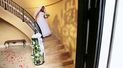 Beautiful Ethnic Bride Wedding Dress Descending Staircase  Stock Footage