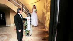Proud Bridegroom with Bride Wedding Day  Stock Footage