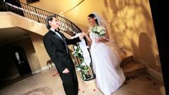 Groom Waiting Bride Bottom Winding Staircase  Stock Footage