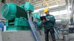 Industrial workers, teamwork - stock footage