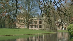 Medieval castle Rosendael pond + zoom out 02p Stock Footage
