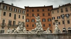 Fountain of the Neptune in Piazza Navona, Rome, Italy - stock footage