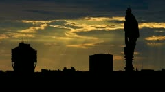 Italy Milan The Torre Velasca from Duomo sunbeams Stock Footage