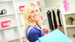 Blonde Girl Successful Shopping Trip   Stock Footage