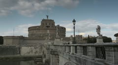 Castel Sant'Angelo, famous monument on river Tiber, Rome, Italy Stock Footage