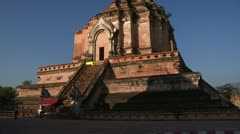Thailand: Pan up of Wat Chedi Luang Stock Footage
