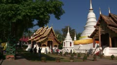 Thailand: Pan of the Grounds of Wat Phra Singh - stock footage