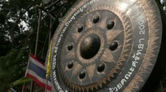 Thailand: Giant Gong at the base of Wat Phra Thart Doi Suthep Stock Footage