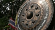 Stock Video of Thailand: Giant Gong at the base of Wat Phra Thart Doi Suthep Stock Footage