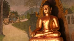 Thailand: Sitting Buddha at Wat Phra Thart Doi Suthep Stock Footage