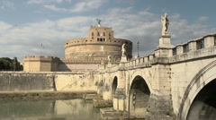 Rome with Castel Sant'Angelo, famous monument on river Tiber, Italy Stock Footage
