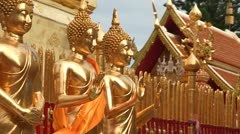 Thailand: Golden Buddhas at Wat Phra Thart Doi Suthep Stock Footage
