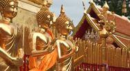 Stock Video of Thailand: Golden Buddhas at Wat Phra Thart Doi Suthep Stock Footage