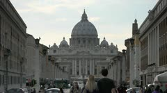 Vatican City and Saint Peter's basilica, famous cathedral in Rome - stock footage