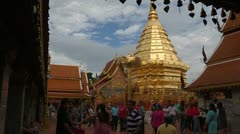 Thailand: Tourists and worshipers visit Wat Phra That Doi Suthep Stock Footage