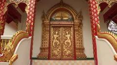 Thailand: Ornate door at Wat Phra That Doi Suthep Stock Footage