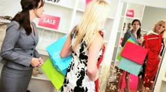 Female Shopper Credit Card Fashion Store  Stock Footage