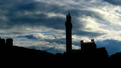 Italy Sienna Piazza del Campo clouds Stock Footage