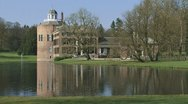 Medieval castle Rosendael view from pond + pan  03i Stock Footage
