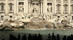 People visiting Trevi Fountain, Rome, Italy Stock Footage