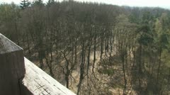 View from watch tower veluwe forest early spring 01p Stock Footage